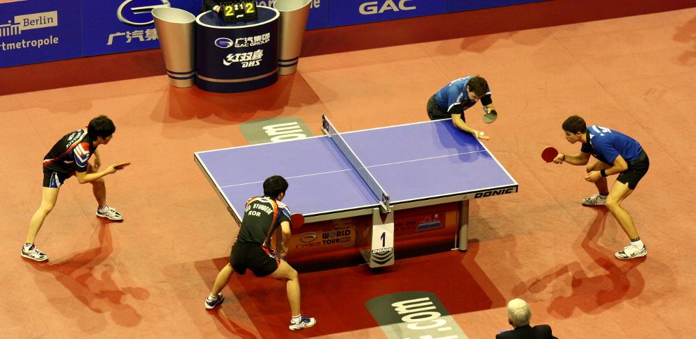 Das neugebildete deutsche Doppel Boll/Franziska tat sich im Halbfinale gegen die koreanische Paarung durchaus schwer, ...