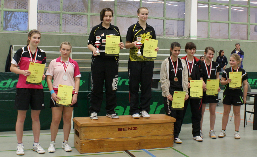 Das Doppel der Mädchen gewannen Teuber/Steinorth, Zweite wurden Scholz/Jünemann und den dritten Platz teilten sich Sokolova/Krenitz und Henning/Gawolek