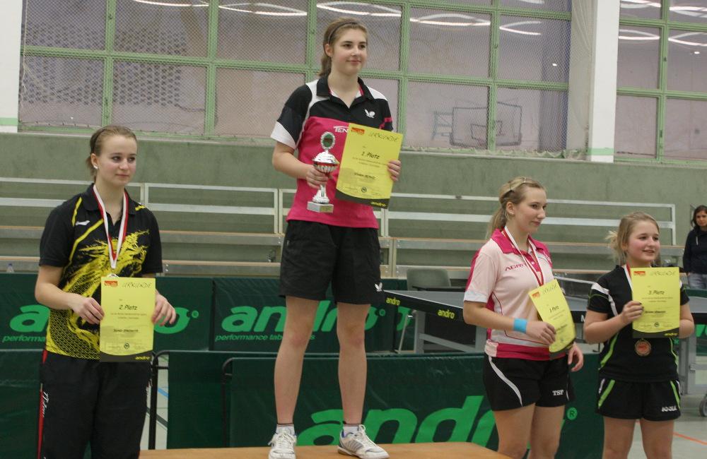 Auch im Einzel der Mädchen gewann die Doppelzweite, Scholz sicherte sich den Titel im Finale gegen Steinorth, Dritte wurden Jünemann und Gawolek