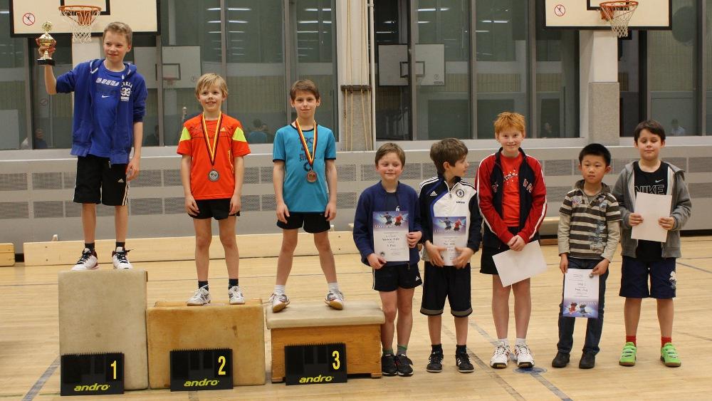 Siegerehrung B-/C-/D-Schüler, Platz 1-8: Marvin, Jan, Finn, Valentin, Timo, Leander, Muye, Fabian (von links)