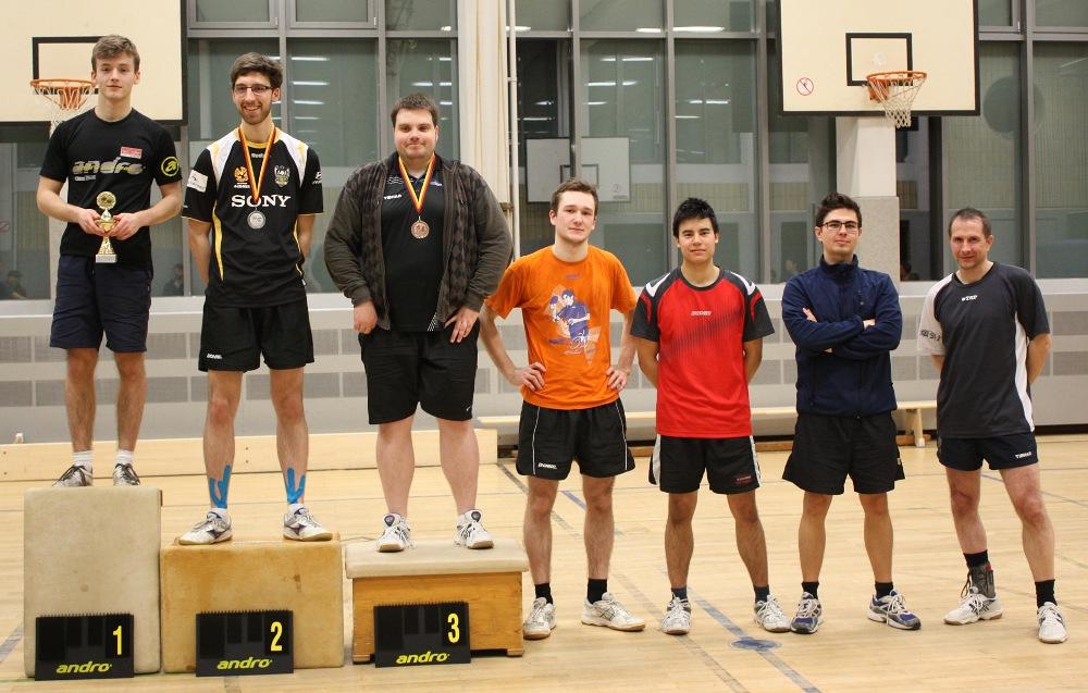 Siegerehrung Damen/Herren, Platz 1-8, ohne Daniel (6. Platz): Robin, Felix, Domenik, Alex, Marc, Wladek, Michael (von links)