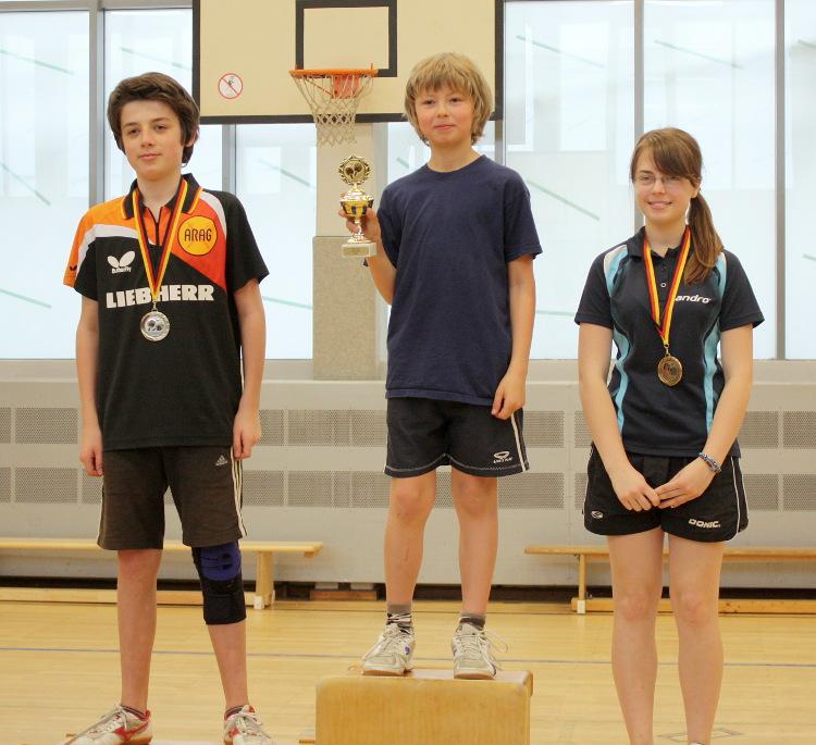 Siegerehrung: 1. Platz Julien (Mitte), 2. Platz Fynn (links), 3. Platz Svenja