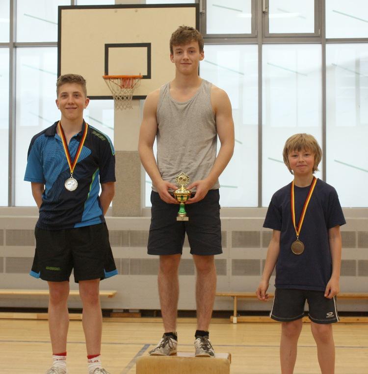 Siegerehrung: 1. Platz Robin (Mitte), 2. Platz Mike (links), 3. Platz Julien