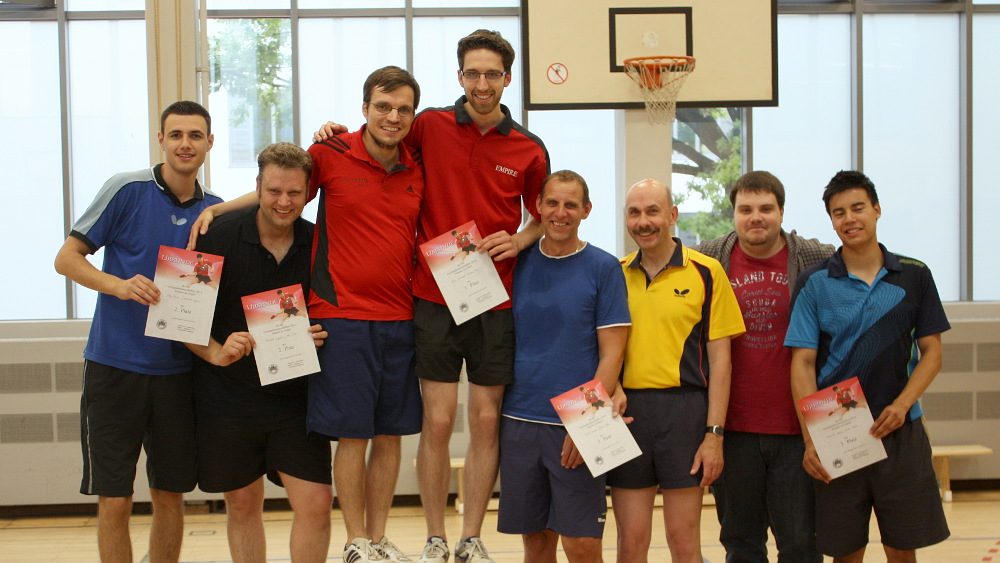 Siegerehrung Doppel: 1. Felix/Sascha, 2. Alen/Michael, 3. Daniel/Martin und Domenik/Marc