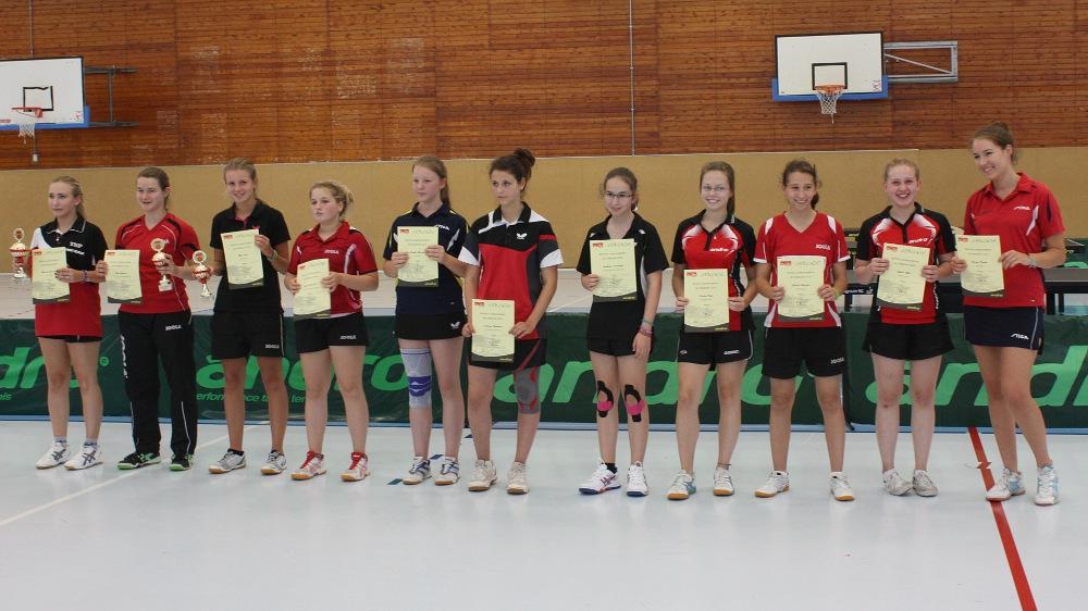 Siegerehrung Landesrangliste der Mädchen 2014