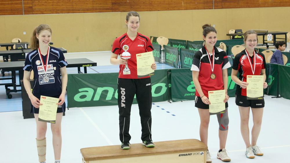 Die Siegerehrung des Mädchen-Einzels: 1. Platz: Henning, 2. Platz: Spektor, 3. Plätze: Sokolova, Svenja Stoll