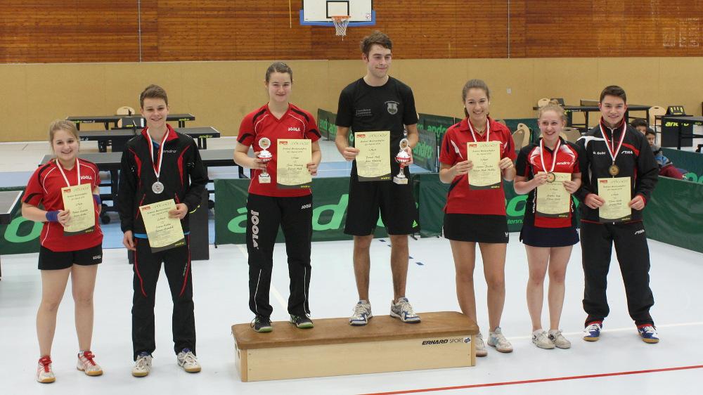 Die Siegerehrung des Mixed-Wettbewerbs: 1. Platz: Henning/Neef, 2. Platz: Gawolek/Kalka, 3. Plätze: Fischer/Nicklas (nicht im Bild) und Sophie Böhl/Oliver Goihl