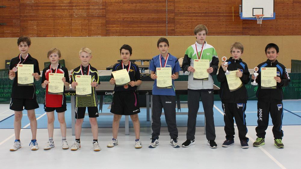 Siegerehrung Schüler Doppel (von links): 3. Platz A. Sahakiants (SCC)/J. Mathe (STTK) und J. Freudenthal (Bergmann)/J. Kanan (SSV Rot.), 2. Platz C. Wachshofer (KSVA)/B. Voßkühler (SCC), 1. Platz Y. Sprengel/N. Hoang Thai (beide Hertha)