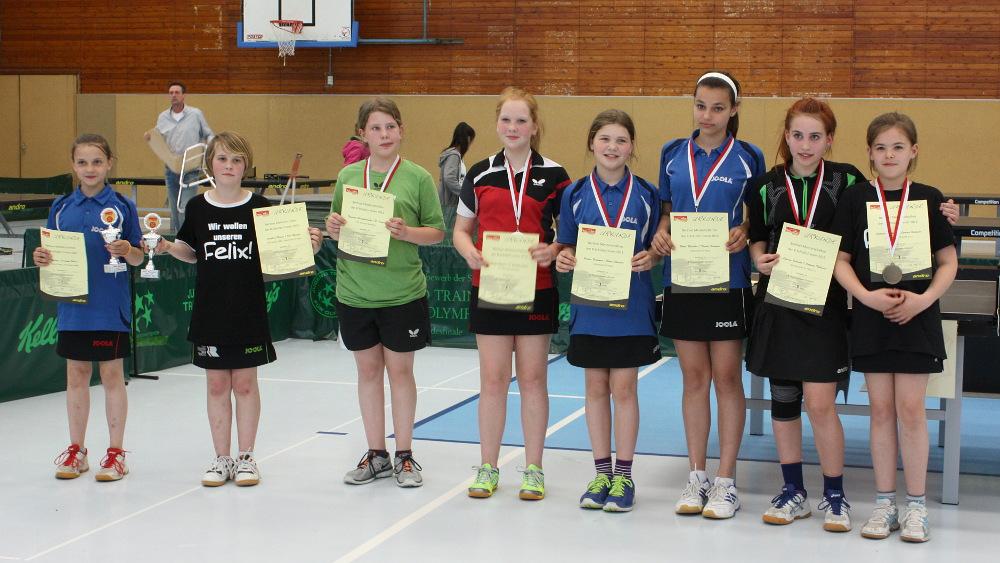 Siegerehrung Schülerinnen Doppel (von links): 1. Platz K. Wesling (KSVA)/J. Plonies (Rudow), 2. Platz T. Paraskevopulos/S. Krüger (beide Boruss. Sp.), 3. Platz V. Frommer/F. Fleischer (beide KSVA) und L. Schmidt/A. Thiburra (beide LSC)