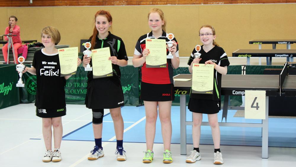 Siegerehrung Schülerinnen Einzel (von links): 1. Platz J. Plonies (Rudow), 2. Platz L. Schmidt (LSC), 3. Platz S. Krüger (Borussia Sp.) und C. M. Dahlmann (Füchse)