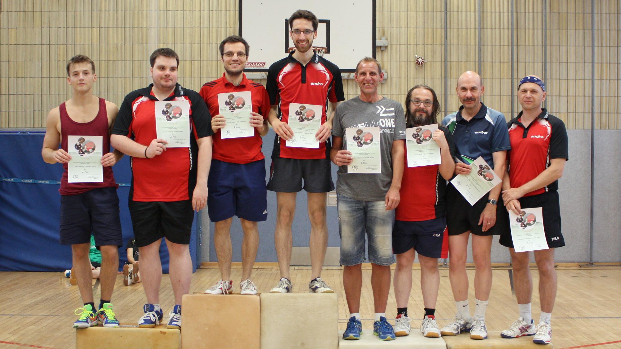 1. Platz Sascha/Felix; 2. Platz Robin/Domenik; 3. Platz Daniel/Tobias und Martin E./Thomas W.