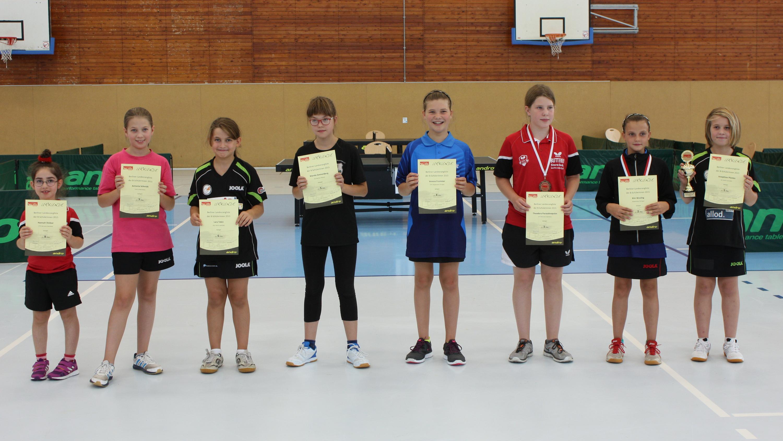 Siegerehrung B-Schülerinnen (von rechts): 1. Jospehine Plonies (eastside), 2. Kim Wesling (KSVA), 3. Theodora Paraskevopulos (Bor. Spandau), 4. Verena Frommer (KSVA), 5. Wanda Sonnenberg (Brauereien), 6. Lara Tekin (eastside), 7. Antonia Schmidt (TuSLi),