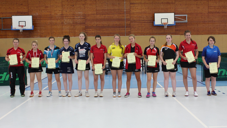 Siegerehrung Mädchen (von links): 1. Sina Henning, 2. Belana Gawolek (beide Füchse), 3. Alexa Krenitz (Neukölln), 4. Lilia Palina, 5. Arina Spektor (beide eastside), 6. Valeriya Sokolova, 7. Lisa-Sophie Steinhäuser (beide Tegel), 8. Mia Teich (Füchse