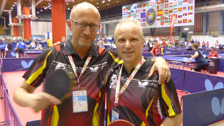 Peter Wode mit Doppelpartner Thomas Huck in der WM-Halle