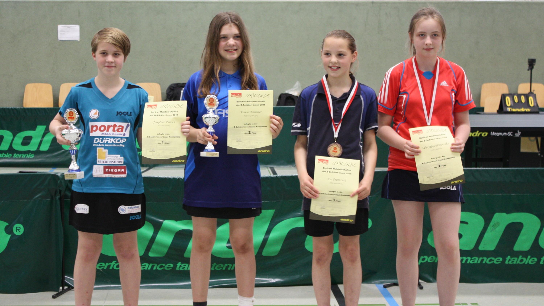 Siegerehrung B-Schülerinnen Einzel (von links): 1. Platz: Josephine Plonies (eastside), 2. Platz: Verena Frommer (KSVA), 3. Platz: Pia Frontzek (Marzahn), Weronika Wasowska (GuthsMuths)