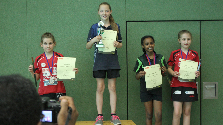 Siegerehrung C-Schülerinnen von (links): 2. Platz Lara Tekin (eastside), 1. Platz Pia Frontzek (Stern Marzahn), 4. Platz Elenie Demissie (CfL Berlin), 3. Platz: Mathilda Fangmeyer (eastside)