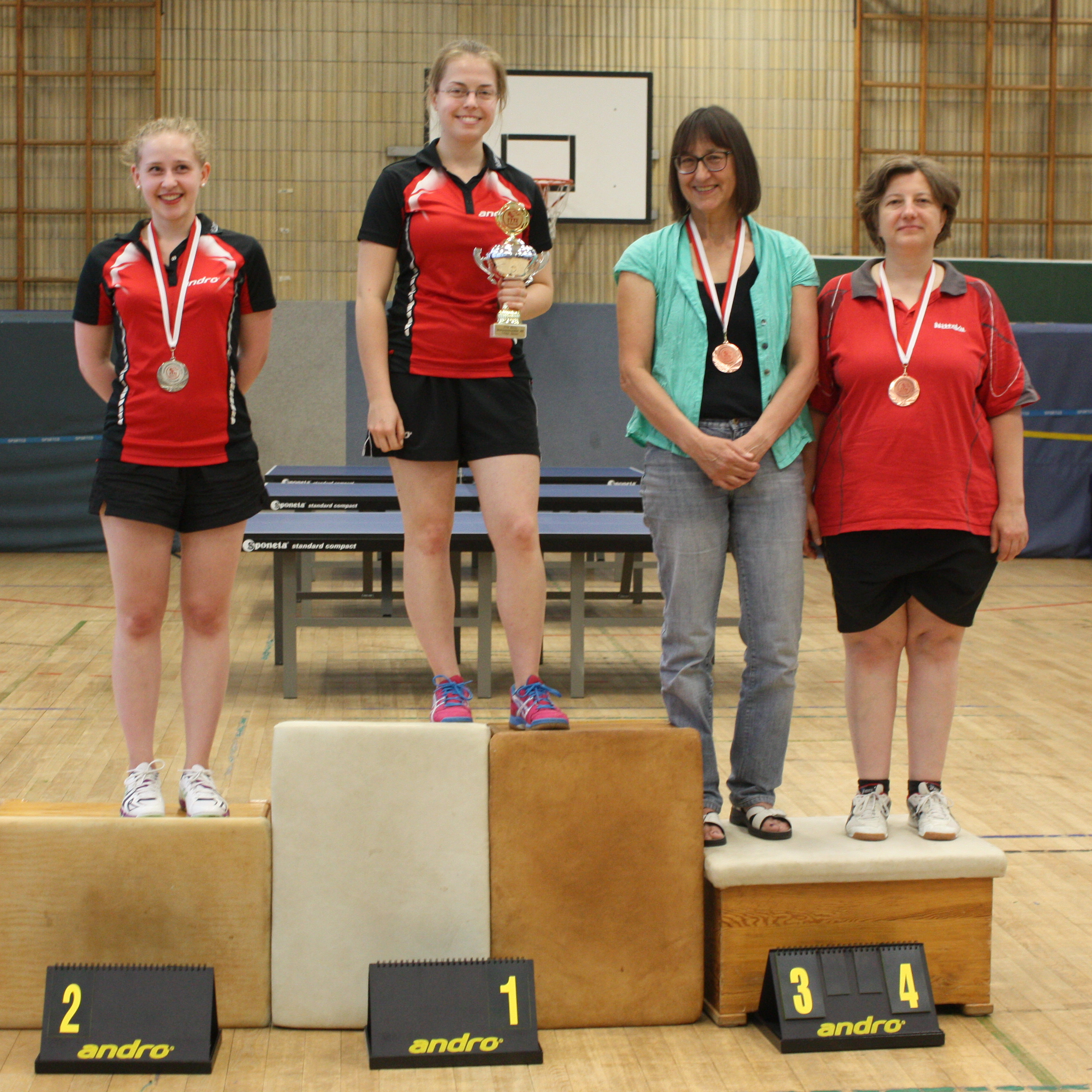 Siegerehrung Damen Einzel:1. Platz: Svenja, 2. Platz: Sophie, 3. Platz: Johanna, 4. Platz: Petra