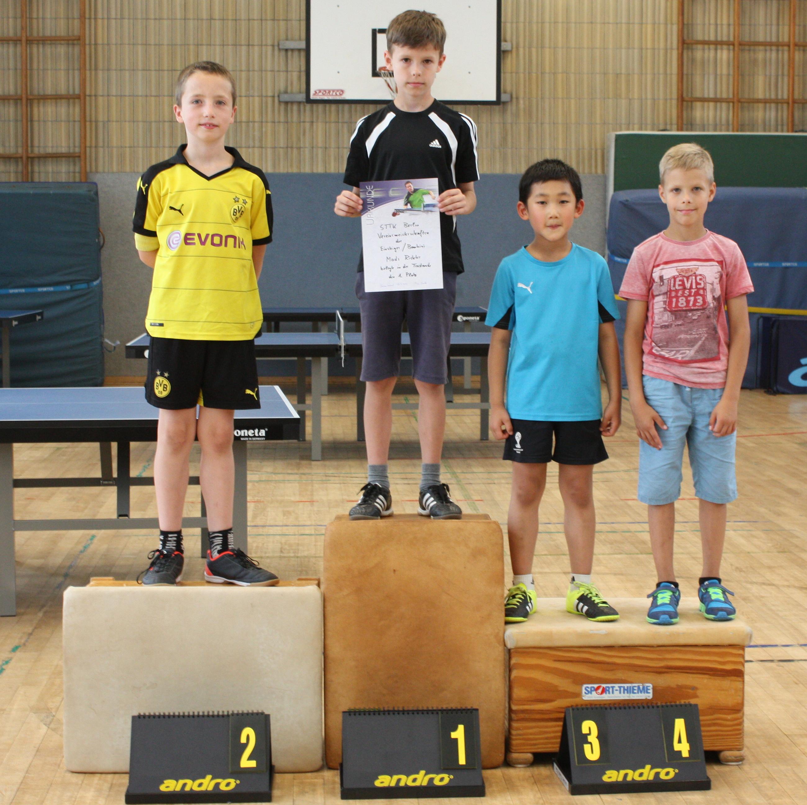 Siegerehrung Trostrunde Einsteiger: 1. Platz: Mads, 2. Platz: Rafael, 3. Platz: Jiahe, 4. Platz: Jevgeni