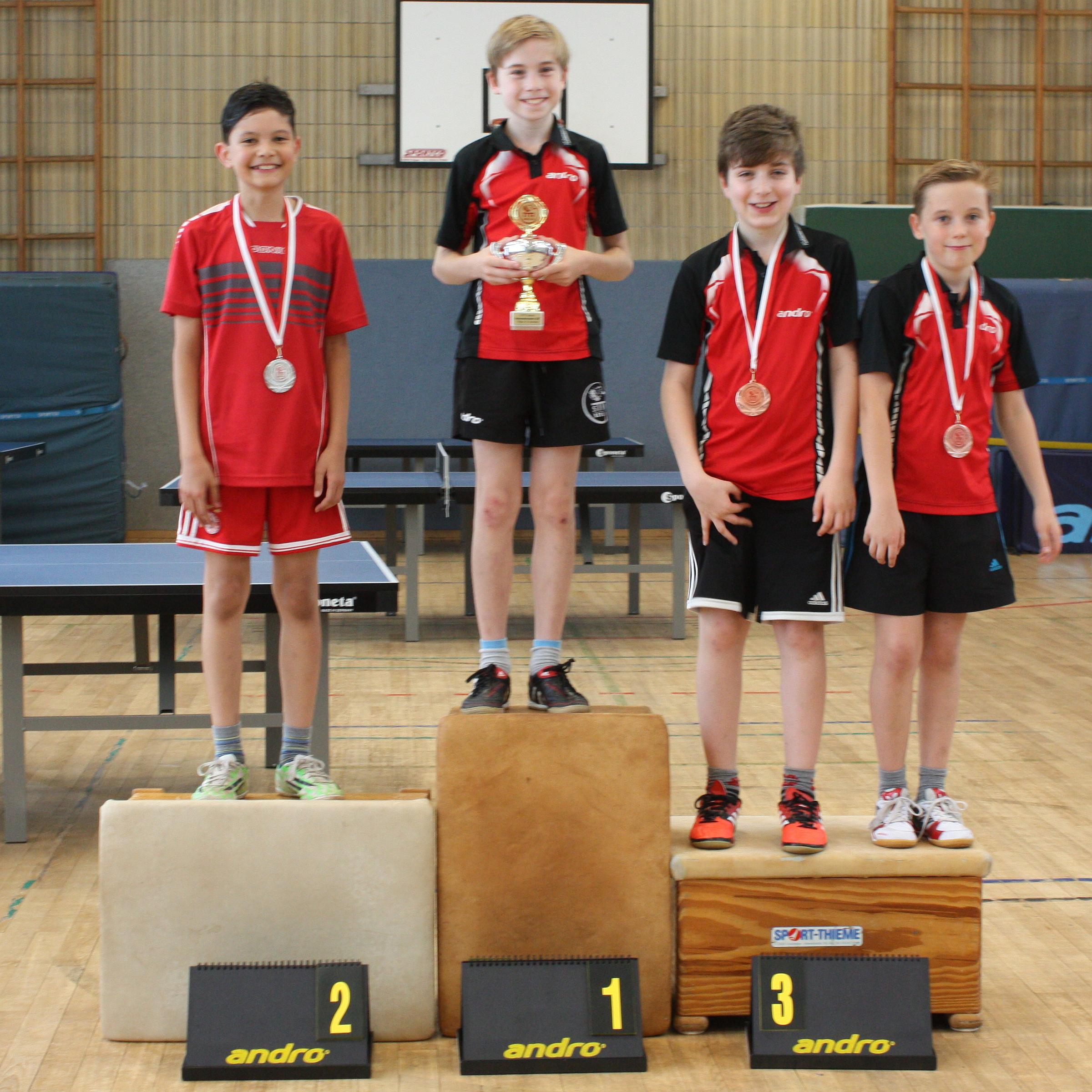 Siegerehrung B-Schüler: 1. Platz: Felix, 2. Platz: Raden, 3. Plätze: Timo, Michel
