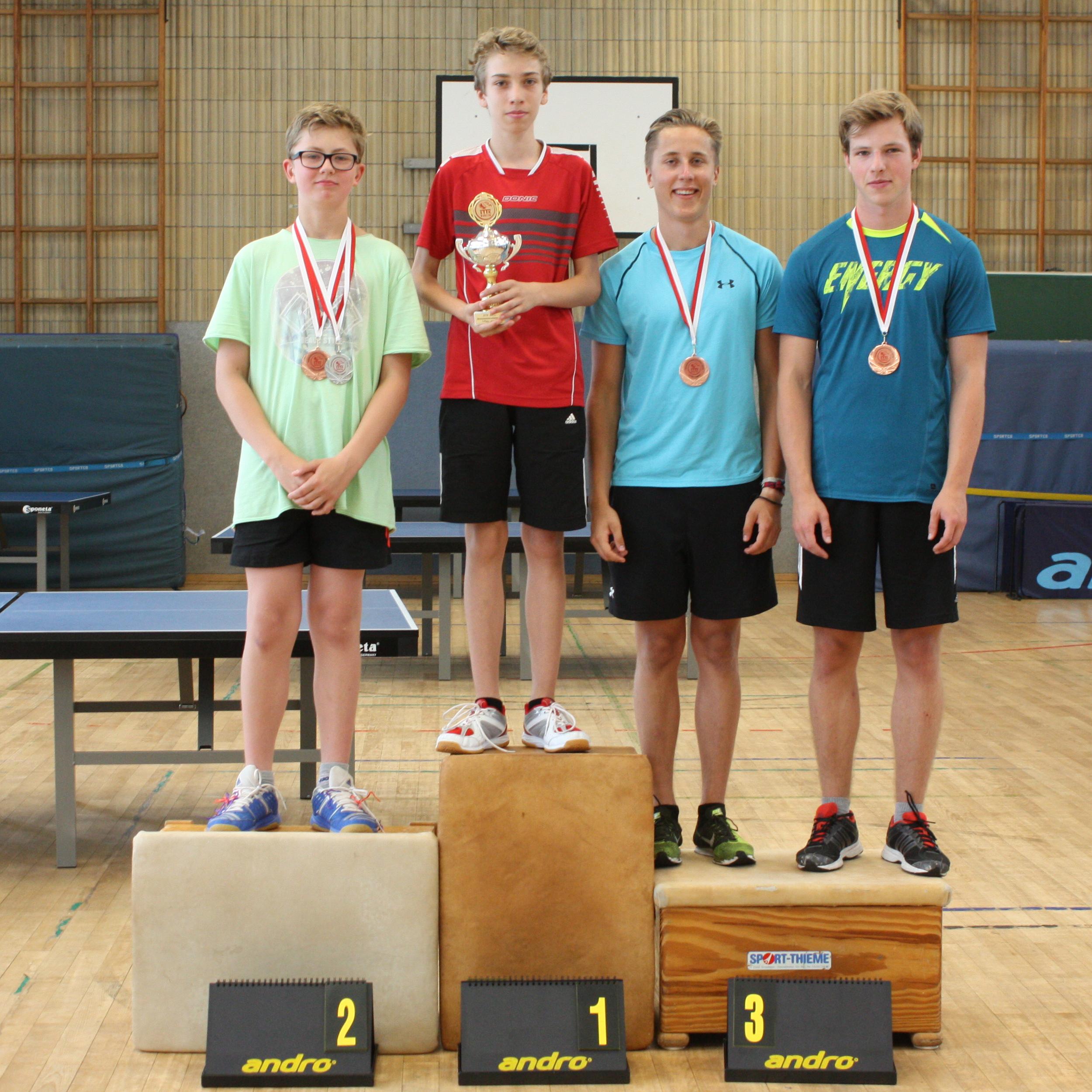 Siegerehrung Jungen: 1. Platz: Ludwig, 2. Platz: Julien, 3. Plätze: Ben, Jonas