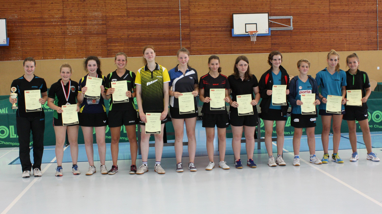 Siegerehrung Landesrangliste Mädchen 2016