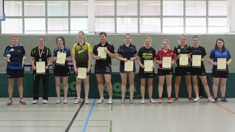Siegerehrung Landesrangliste Damen 2016