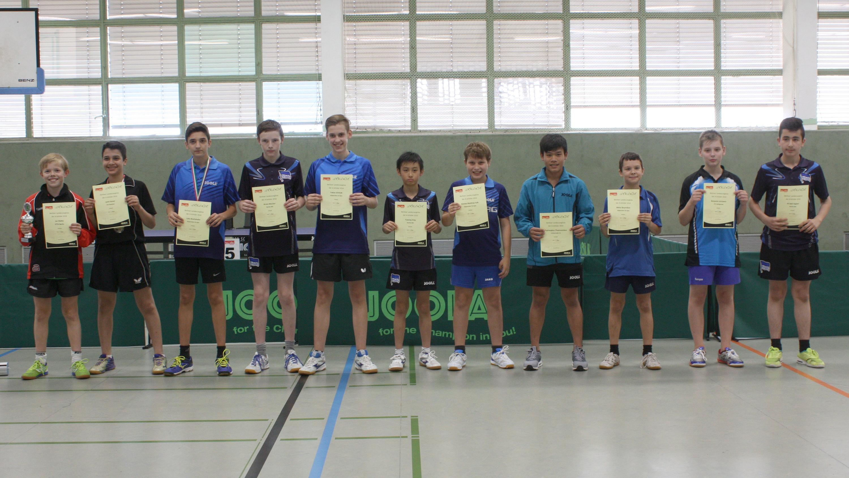 Siegerehrung Landesrangliste A-Schüler 2016