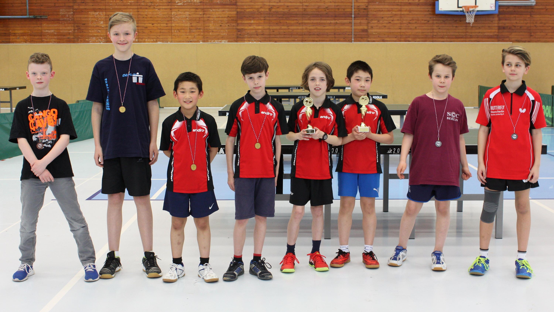 So viel STTK auf einmal: Jiayu und Oscar halten stolz ihre Pokale für den 1. Platz, und auch Mads und Jiahe haben allen Grund, sich über ihre Bronzemedaille zu freuen.