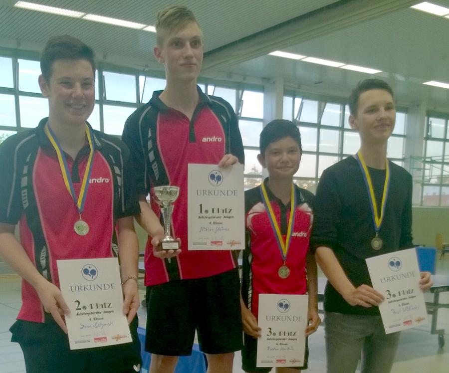 In der 4. Klasse Jungen erspielte sich Raden (2. von rechts) einen Platz auf dem Podest, er beendete das Turnier auf dem 3. Platz und ist zusätzlich in die 3. Klasse Jungen aufgestiegen.