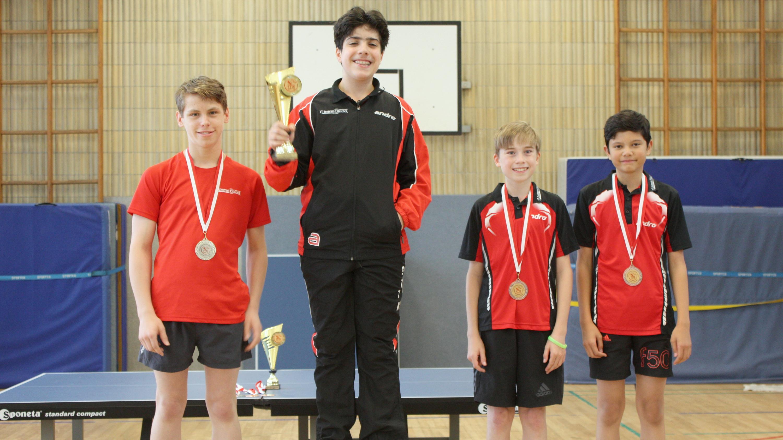 Siegerehrung A-Schüler: 1. Miguel, 2. Finn, 3. Felix und Raden