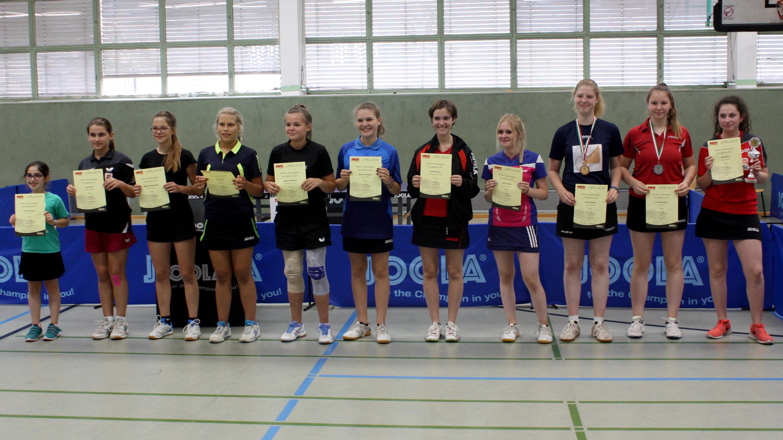 Siegerehrung Landesrangliste Mädchen 2017