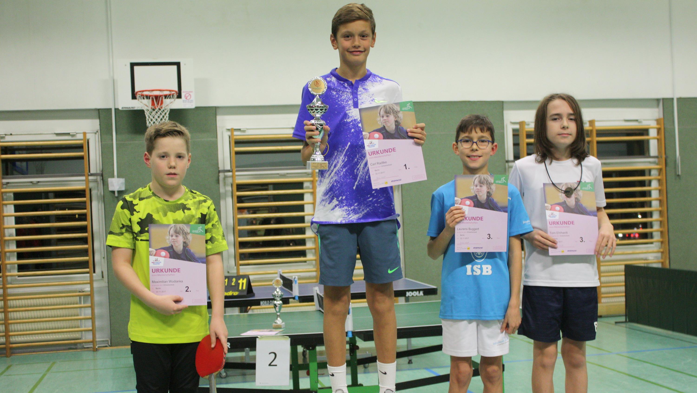 Siegerehrung der Jungen (05/06): 1. Carl, 2. Max, 3. Laurens und Tom