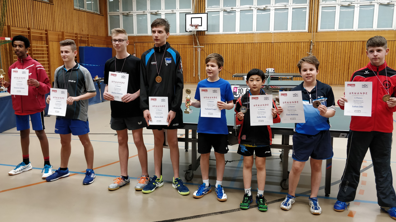 Gemeinsame Siegerehrung der 1. und 2. Klasse der A-Schüler: 2. Platz für Jiahe (3. von rechts) in der 2. Klasse