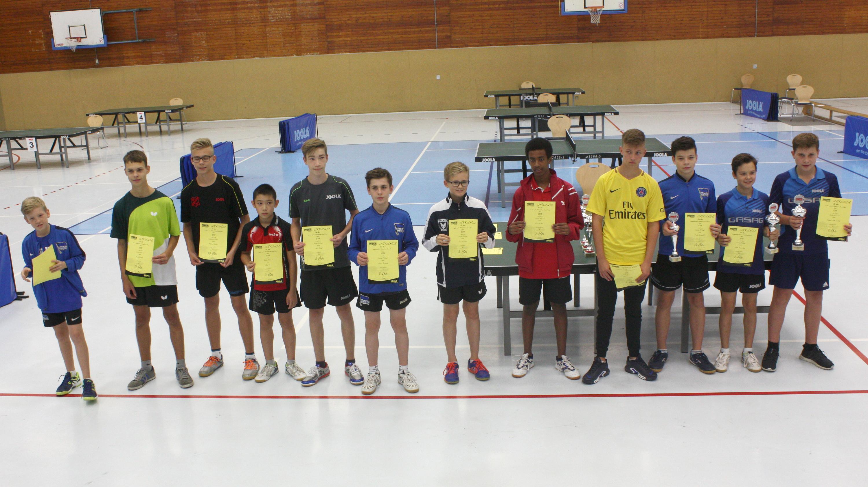 Siegerehrung der Landesrangliste der A-Schüler: Jiayu (4. v. l.)