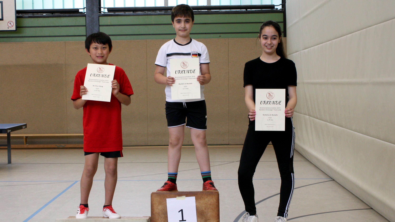Siegerehrung Bambini/Einsteiger Trostrunde: 1. Mustafa, 2. Bo-Chun, 3. Buthaina