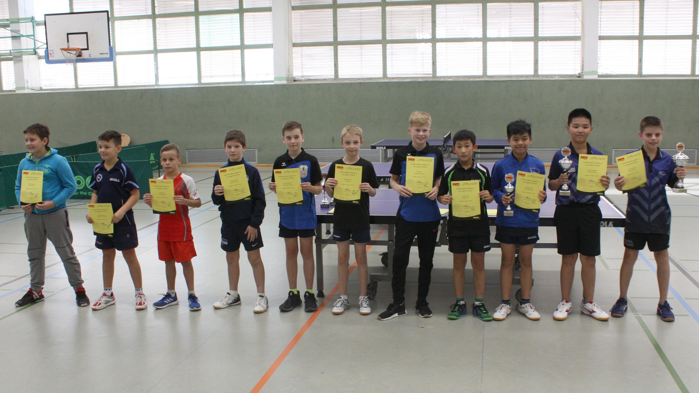Siegerehrung Landesrangliste 2019 Jungen 13: Jiahe Vierter von rechts