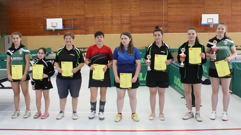 Siegerehrung Landesrangliste der Damen 2019: Didem (3. v. r.) und Petra (6. v. r.)