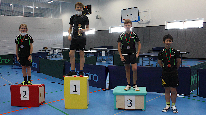 Siegerehrung Vereinsmeisterschaften 2021 Jugend 13: 1. Max, 2. Mick, 3. Eren, 4. Tsung-Hsi