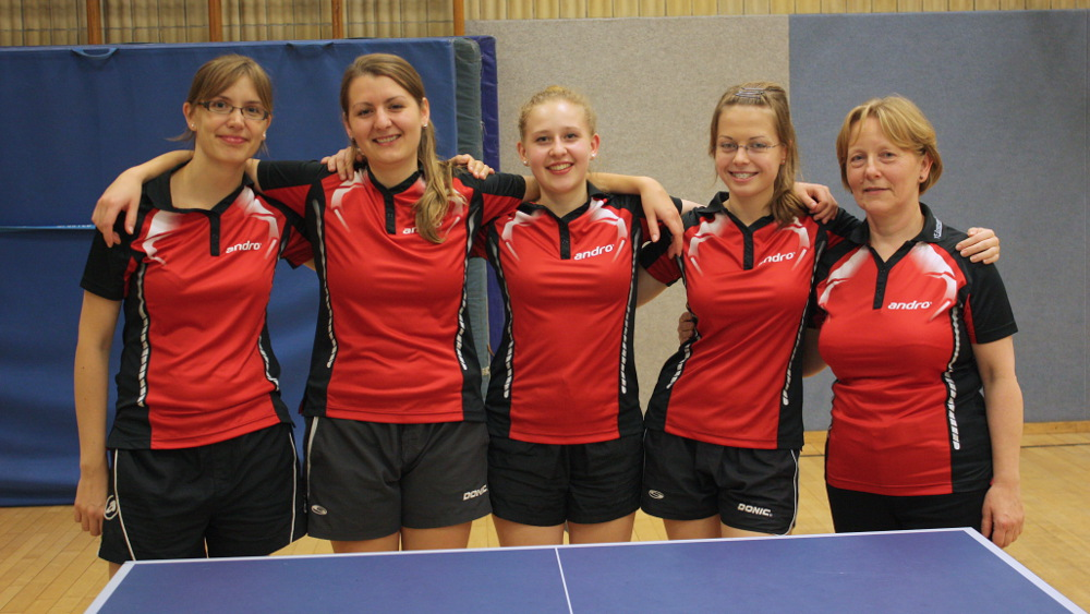 1. Damen Hinrunde 2014/2015: Anke Todtermuschke, Diana Prinzbach, Sophie Böhl, Svenja Stoll, Margarete Kulasek-Olszewski (von links)
