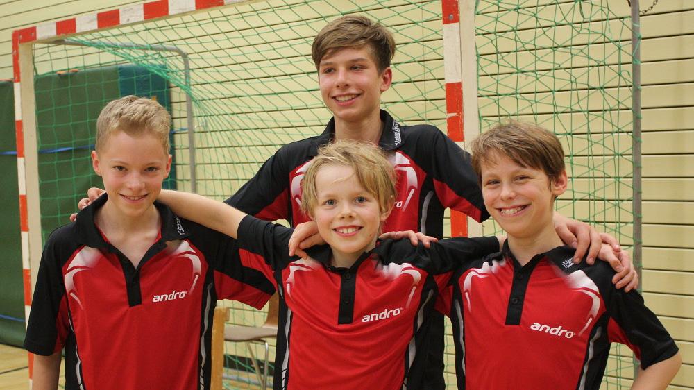 1. A-Schüler beim Spiel gegen den TSC Berlin (Hinrunde 2014/2015): Marvin Große, Jan Mathe, Finn Nerger (vorne von links), Konrad Thude (hinten)