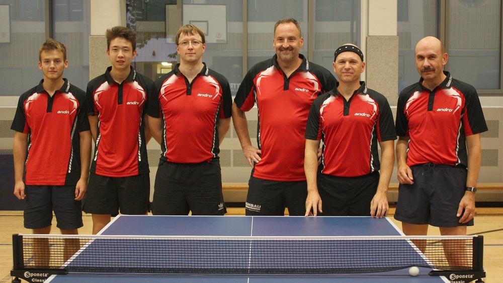 2. Herren Hinrunde 2014/2015: Robin Mitbach, Martin Xu, Thomas Brauner, Martin Hopf, Thomas Weißenborn, Martin Eifler (von links)